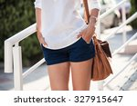 summer fashion woman in white... | Shutterstock . vector #327915647