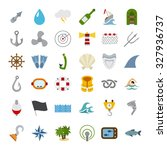 sea world icons set. flat... | Shutterstock .eps vector #327936737