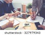 meeting of designers discussing ...   Shutterstock . vector #327979343