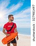 lifeguard on duty keeping a... | Shutterstock . vector #327981497