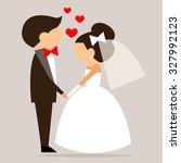 cartoon bride and groom... | Shutterstock .eps vector #327992123