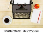 vintage french typewriter on a... | Shutterstock . vector #327999053