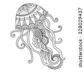 hand drawn jellyfish zentangle