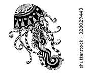 hand drawn jellyfish zentangle... | Shutterstock .eps vector #328029443