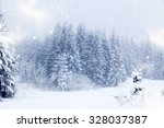 christmas background with snowy ... | Shutterstock . vector #328037387