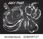 hand drawn set of fruits  ...