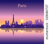 paris city skyline silhouette...