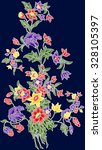 batik design with flower. | Shutterstock . vector #328105397
