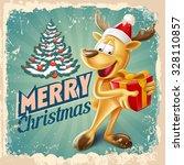 vintage reindeer merry christmas | Shutterstock .eps vector #328110857