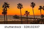 palm trees on manhattan beach...   Shutterstock . vector #328132337