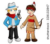 cowboy and indian boy in white... | Shutterstock .eps vector #328132847