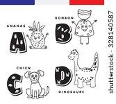 french alphabet. pineapple ... | Shutterstock .eps vector #328140587