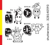 spanish alphabet. wildebeest ... | Shutterstock .eps vector #328140593