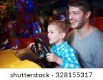 happy father and son playing... | Shutterstock . vector #328155317