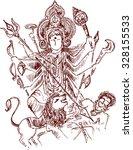 illustration of goddess durga | Shutterstock .eps vector #328155533