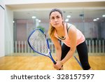 woman eager to play squash in... | Shutterstock . vector #328157597