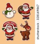 christmas sticker icons. vector. | Shutterstock .eps vector #328169867