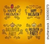set of vintage happy halloween... | Shutterstock .eps vector #328330373