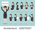 set of working businesswoman on ... | Shutterstock .eps vector #328370537