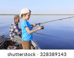 fishing boat. grandfather and... | Shutterstock . vector #328389143