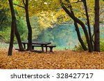 Stock photo lake in autumn forest 328427717