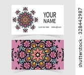 business card  mandala round... | Shutterstock .eps vector #328442987