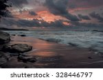 dark moody sunrise at the beach ... | Shutterstock . vector #328446797