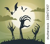 halloween banner cemetery... | Shutterstock .eps vector #328471937