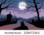 River Halloween Moon Cemetery...