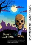 zombie hand hold dead skull... | Shutterstock .eps vector #328472393
