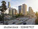 the los angeles skyline at... | Shutterstock . vector #328487927