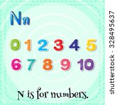 flashcard n is for numbers... | Shutterstock .eps vector #328495637