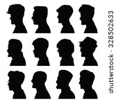 men's profiles with different... | Shutterstock .eps vector #328502633