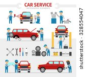 car repair service flat vector... | Shutterstock .eps vector #328554047