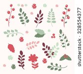 vector set of flowers and leaf... | Shutterstock .eps vector #328554377