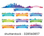 colorful city skyline australia ... | Shutterstock .eps vector #328560857