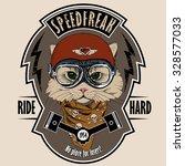 emblem with portrait of a cat... | Shutterstock .eps vector #328577033
