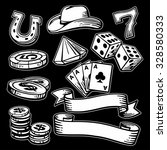casino set symbols and stetson. ... | Shutterstock .eps vector #328580333