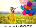 smiling girl with balloons in... | Shutterstock . vector #328588733