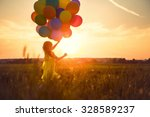 little girl with balloons in... | Shutterstock . vector #328589237