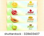 fresh fruits banner orange | Shutterstock .eps vector #328603607