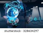 double exposure of hand showing ...   Shutterstock . vector #328634297