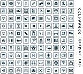media 100 icons universal set... | Shutterstock . vector #328664123