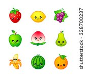 kawaii fruits icons or stickers ... | Shutterstock .eps vector #328700237