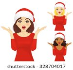 surprised woman in christmas... | Shutterstock .eps vector #328704017