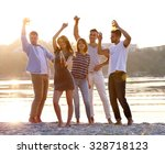 young people with beer on the... | Shutterstock . vector #328718123