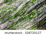 Sedimentary Rock Wall With Wet...