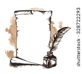 hand drawn paper scroll ... | Shutterstock .eps vector #328722293