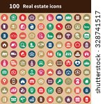 real estate 100 icons universal ... | Shutterstock . vector #328741517