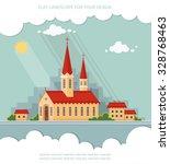landscape church on the... | Shutterstock .eps vector #328768463